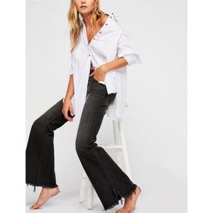 Free People Black Vintage Flair Raw Hem Jeans NWT